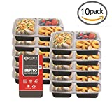 [VALUE 10 PACK] Party Bargains Leak-proof 3 Compartment Rectangular Plastic Bento Lunch Box - Portion Control Food Containers With Airtight Lids Set, Reusable, Microwavable, Dishwasher & Freezer Safe