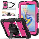 Galaxy Tab A 8.0 SM-T387 Case 2018 Version, [Full-body] & [Shock Proof] Hybrid Armor Protective Case with 360 Rotating Stand [Screen protector] for Samsung Tab A 8.0 Model SM-T387 (2018) - Peach+Black