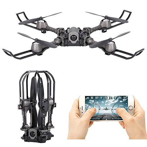 LOHOME Foldable RC Drone – i5hw 2.4GHz 6-Axis Gyro Quadcopter Remote Control Drone with FPV Wifi 0.3MP Camera Gravity Sensor Helicopter