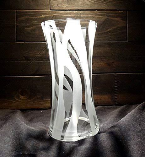 Etched Zebra Stripe - Unique Zebra Print Etched Glass Vase