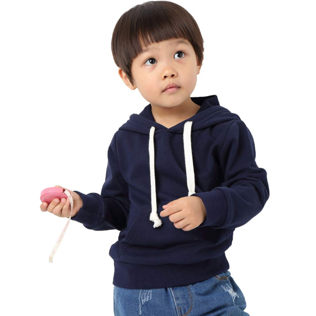 LIELIESTAR Toddler Kids Plain Hoodie Long Sleeve Adustable Drawstring Windproof Sweatshirt with Front Pocket School Holidays Outwear and Size Age 3 to 8 Boys ANG Girls