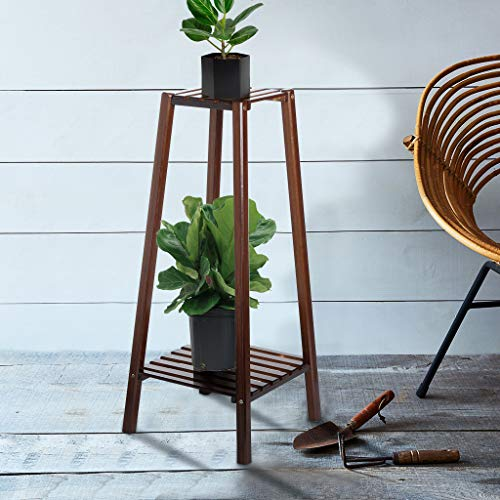 Plant Stand 2-Tier Bamboo Planter Rack Flower Pots Holder Disply Rack Tall Plant Stand Pot Holder Small Table for Home Office Wardrobe Storage 12.6x12.6x29.5inch by SIN+MON[Ship from USA] (As Shown)