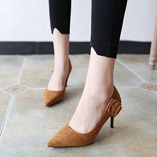 FLYRCX Europäische Mode Wildleder vereinfachte vereinfachte vereinfachte feine Heel Lady High Heel Party Schuhe a0b7d6