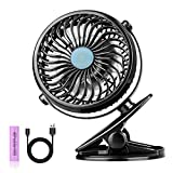 Stroller Fan Clip on Baby - USB and 2600mAh Battery Powered - 2 in 1 Desk & Clip Fan - Lightweight & Portable - 360 Degree Rotation for Baby Stroller Carseat Office Outdoor