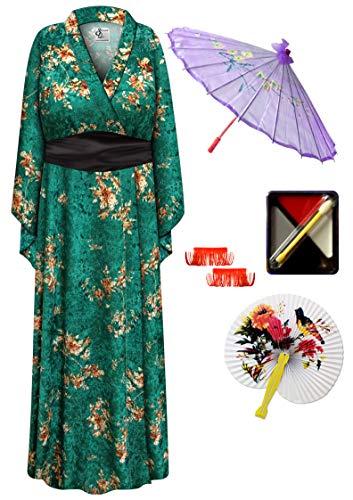 Green Crush Velvet Geisha Robe Plus Size Supersize Costume - Deluxe Kit 6x/7x