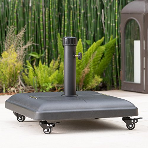 Hercules 80lbs Black Steel Square Umbrella Base with (Black Patio Umbrellas)