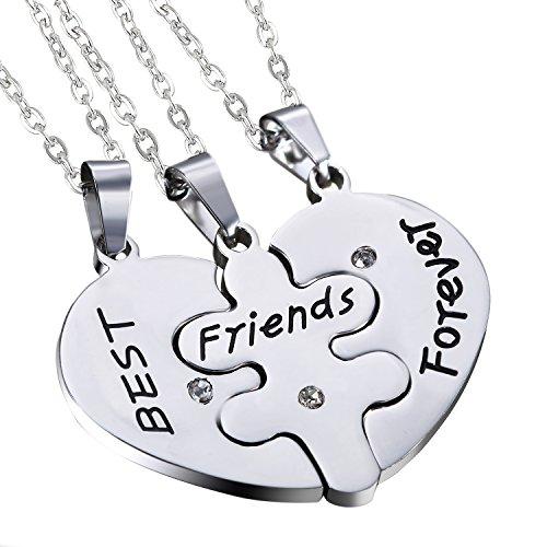 Cupimatch Stainless Steel Heart Shape Pendant Matching 3 Piece Best Friend Necklaces - Shape Best