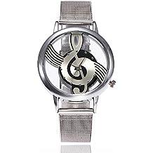 Nextstart Hollow Music Note Notation Watch Stainless Steel Quartz Wristwatches Men Women Mesh Watches