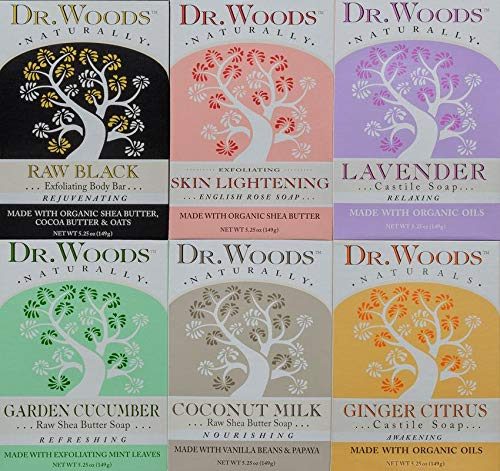 Dr. Woods Natural Pure Castile Bar Soaps made with Moisturizing Organic Shea Butter, 5.25 Ounce Bars Variety 6 Pack