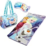 Disney Frozen Sleepover Slumber Sack Sleeping Bag Nap Mat w/ Purse Eye Mask Cover Girls Toddler Kid Party Blanket Quilt Toy Bag Tote Doll Pretend Play Princesses Bed Cot Indoor Camping Olaf Elsa Anna