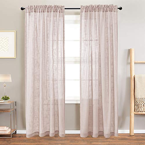Sheer Curtains Linen Look Voile Curtains for Living Room 84 Inch Long Open Weave Linen Textured Window Treatment for Bedroom Two Panels Taupe (84 Inch Linen Curtains)