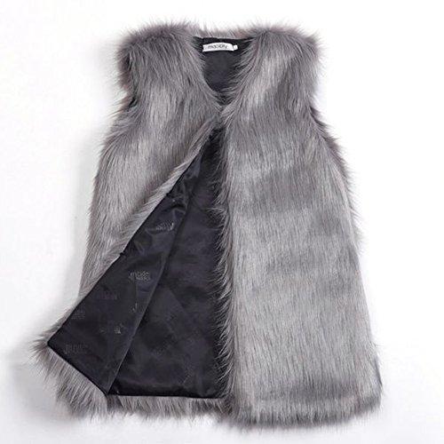 Per Womens Mid-Length Faux Fur Vest Imitation Fox Fur Sleeveless Coat at Amazon Womens Coats Shop