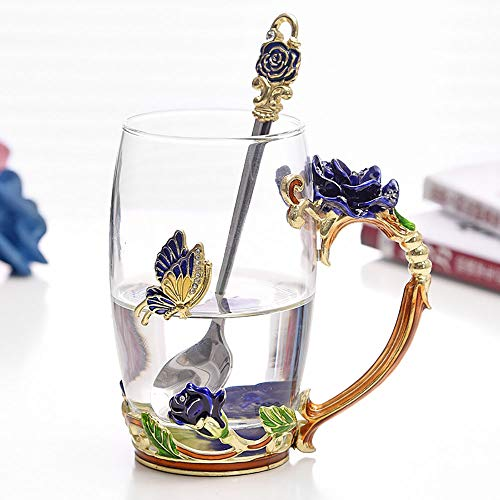 ONEPENG Tea Cups Glass Coffee Mugs Handmade Unique Butterfly Rose Flower For Women Valentine's Day Birthday Presents Decoration Wedding Gift (Rose-Blue-Tall) ()