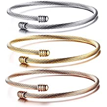 HUANIAN Stainless Steel Triple 3 Stackable Cable Wire Twisted Cuff Bangle Bracelet for Women, Gold/rose /silver