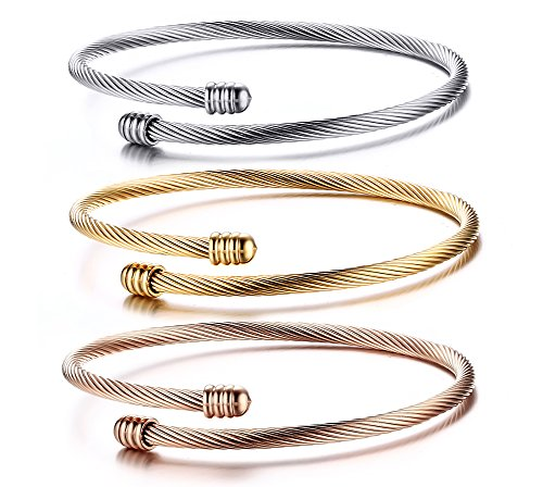 Stainless Steel Triple 3 Stackable Cable Wire Twisted Cuff Bangle Bracelet for Women, Gold/rose /silver (14k Gold Bead Bracelets)