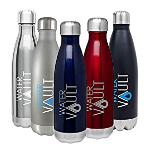 WaterVault Stainless Steel Thermo Water Bottle, Vacuum Insulated Double Walled, Keeps Hot to 12 Hours Cold to 36 Hours – BPA Free Cola Shaped Thermos Bottle (Matte Gray 17oz)