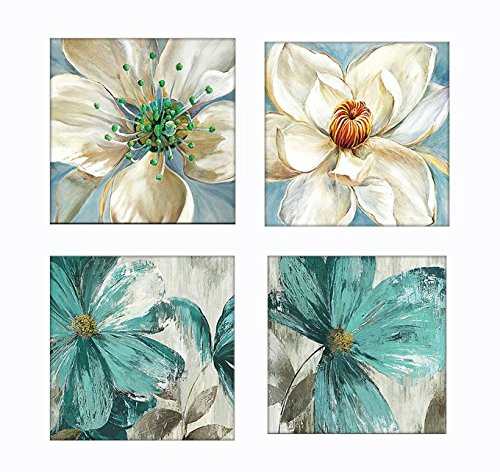 4 Pieces White and Teal Orchid Flower Floral Wall Decor Canvas