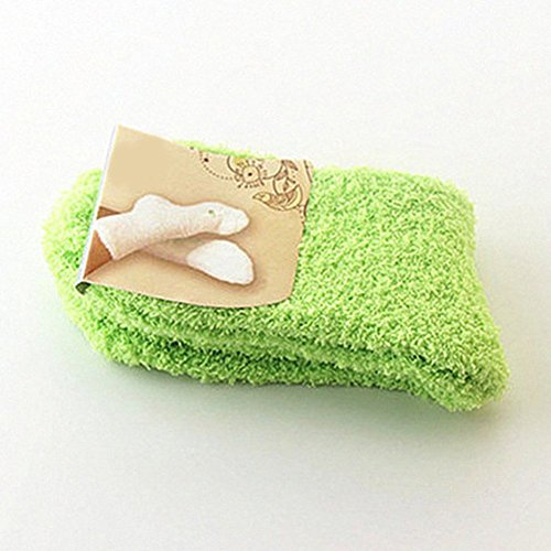 Buyeonline Ladies Cozy Soft Fleece Non Slip Slipper Lettino Calze Taglia Unica, Verde