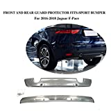 JCSPORTLINE Stainless Steel Front and Rear Sport Bumper Guard for Jaguar F-Pace 2016-2018 2PCS
