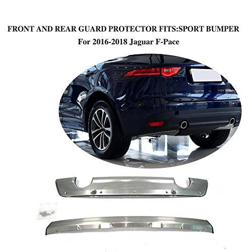 JCSPORTLINE Stainless Steel Front and Rear Sport Bumper Guard for Jaguar F-Pace 2016-2018 2PCS by jcsportline