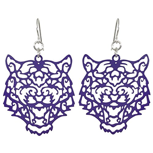 (Gypsy Jewels Laser Cut Tiger Face Open Thin Filigree Swirl Dangle Drop Earrings (Purple))