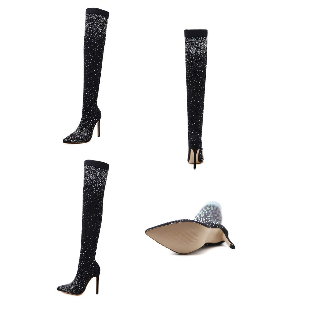 60132fb2401 Amazon.com  ODOKAY Women Sock Boots Fashion Runway Crystal Stretch Fabric  Knee High Thigh High Pointed Toe Woman Boot Shoes  Sports   Outdoors