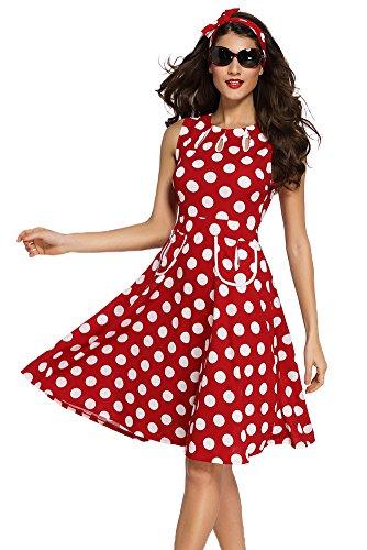 Sisiyer Women's Vantage Polka Dot Bohemian Print Dress Keyhole with Belt Red White Small