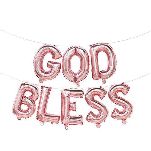 God Bless Foil Letter Balloons Rose Gold | God Bless Balloon Banner | Baptism Party Decorations | Rose Gold First Communion Decorations | Christening Party Supplies | 16inch]()