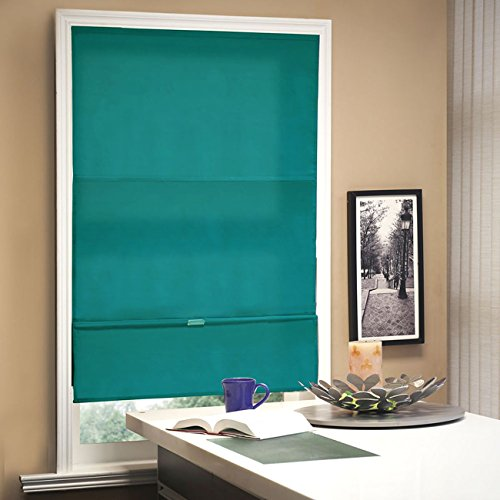 (Chicology Cordless Magnetic Roman Shades / Window Blind Fabric Curtain Drape, Light Filtering, Privacy - Allure Ultramarine, 23