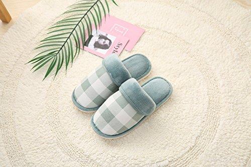 Y-Hui zapatillas de algodón, fresco invierno zapatillas Plaid, hogar cálido zapatillas,44/45,Azul agua