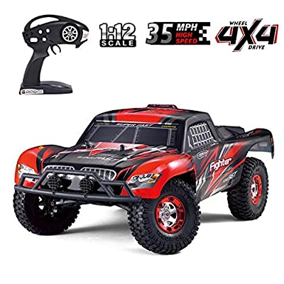 Upgraded Brushless Monster High Speed RC Truck, Keliwow 1:12 Scale 4WD 35 MPH High Speed Off-Road RC Car 2.4Ghz Rock Crawler RTR Desert-1(#01-Red): Toys & Games