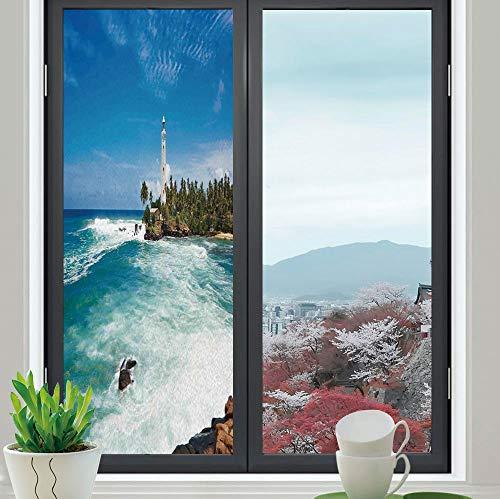 TecBillion Control Heat and Anti UV Window Cling,Lighthouse Decor,Reduce Heat, Glare and Block Out Harmful UV Rays,Tropical Island Lighthouse with Palm Trees Rocks Wavy,24''x70''