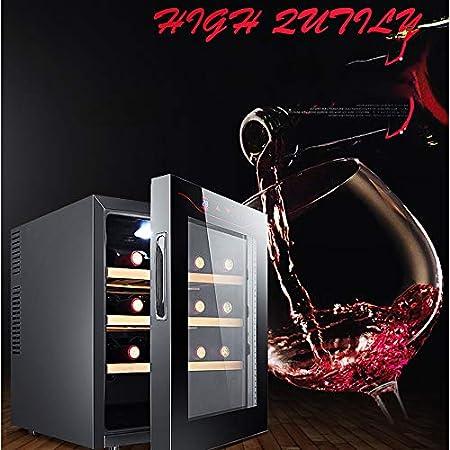 FREIHE Bodega De Vinos 12 Botellas, Cuarto Piso, Refrigerador Y Calentador Vino Digital 11ºC A 18ºC, Pantalla Led Cocina Casa PequeñA Elegante ElectrodoméSticos Inteligentes 42 * 48 * 52Cm, Black