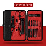 12 In 1 Pcs Nail Clipper Kit Nail Care Set Pedicure Scissor Tweezer Knife Ear Pick Utility Manicure Set Beauty Tools NT92 Red