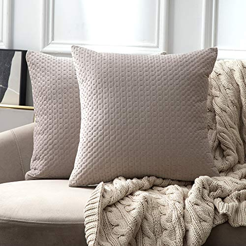 Quilted Decorative Pillow - MIULEE Pack of 2 Decorative Velvet Throw Pillow Covers Soft Quilted Pattern Solid Mix Pink Grey Pillow Cases Luxury Euro Sham Cushion Covers for Sofa Couch Bed 18x18 Inch