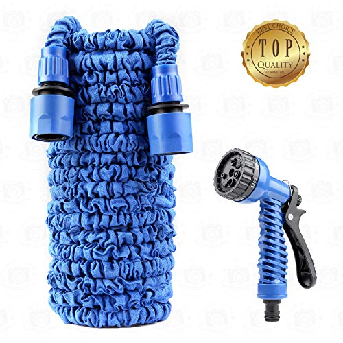 Lightweight Hoses Garden Hose Light Water Hose Flexible Expandable Hose Expanding Compact Garden Hoses 50 ft foot with Nozzle Spray Sprayer Water Hose Gun Connector Gardening Extra Strong Durable Soft