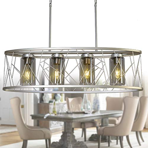 OSAIRUOS Modern Linear Chandelier, Rustic Silver Drum Oval Chandeliers Pendant Ceiling Light for Dining Room Kitchen Island L34.6'' Nest Style 4-Lights (Silver Nest Tables Of)