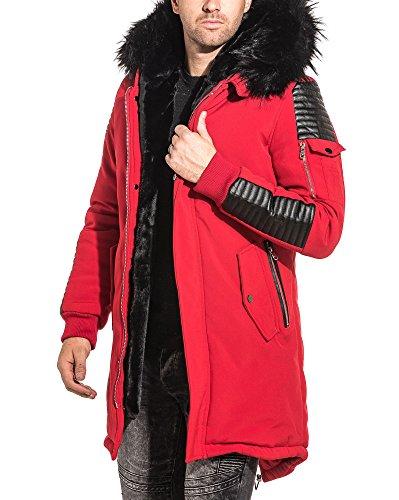 PROJECT X - Parka Homme Rouge Simili Cuir Noir Capuche Fourrure - Couleur   Rouge - Taille  XL XXL  Amazon.fr  Vêtements et accessoires cfea574644a7
