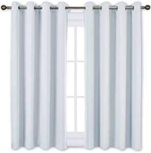 NICETOWN Room Darkening Curtains for Living Room - Window Treatment Thermal Insulated Grommet Room Darkening Panels/Drapes for Bedroom (Light Grey=Greyish White, 2 Panels, 52 by 45)