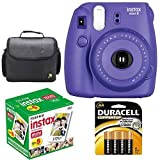 Fujifilm Instax Mini 8 Instant Film Camera (Grape Purple) With Fujifilm Instax Mini 5 Pack Instant Film (50 Shots) + Compact Bag Case + Batteries Top Kit - International Version (No Warranty)