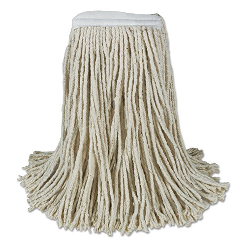 Mop Head Cotton 4 Ply - Boardwalk CM20024 Mop Head, Cotton, Cut-End, White, 4-Ply, 24 oz (Case of 12)