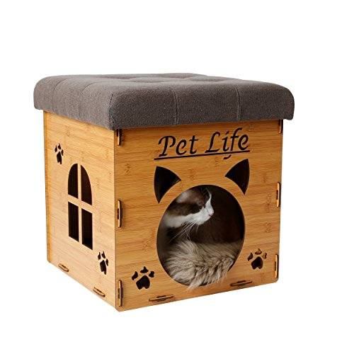 PET LIFE 'Kitty Kallapse' Collapsible Folding Kitty Cat House Tree Bed Ottoman Bench Furniture, One Size, Light Wood