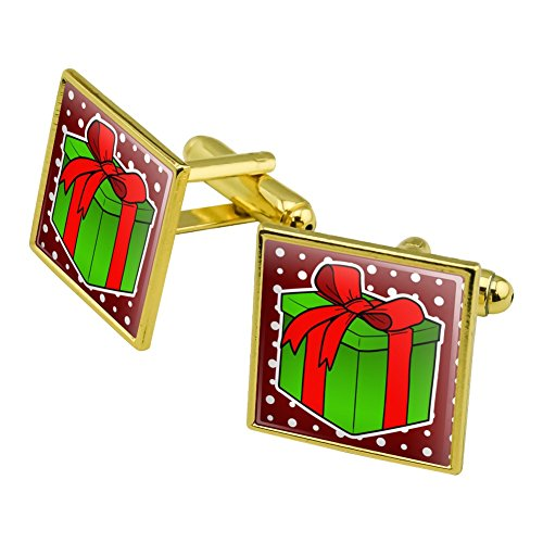 Present Gift Christmas Holiday Square Cufflink Set Gold Color - Christmas Holiday Cufflinks
