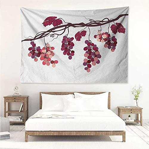 alisos Fruit,Tapestries for Sale Vine Branch with Colorful Grapes Agriculture Themed Illustration Healthy Food Options 84W x 70L Inch Mattress, Tablecloth Multicolor