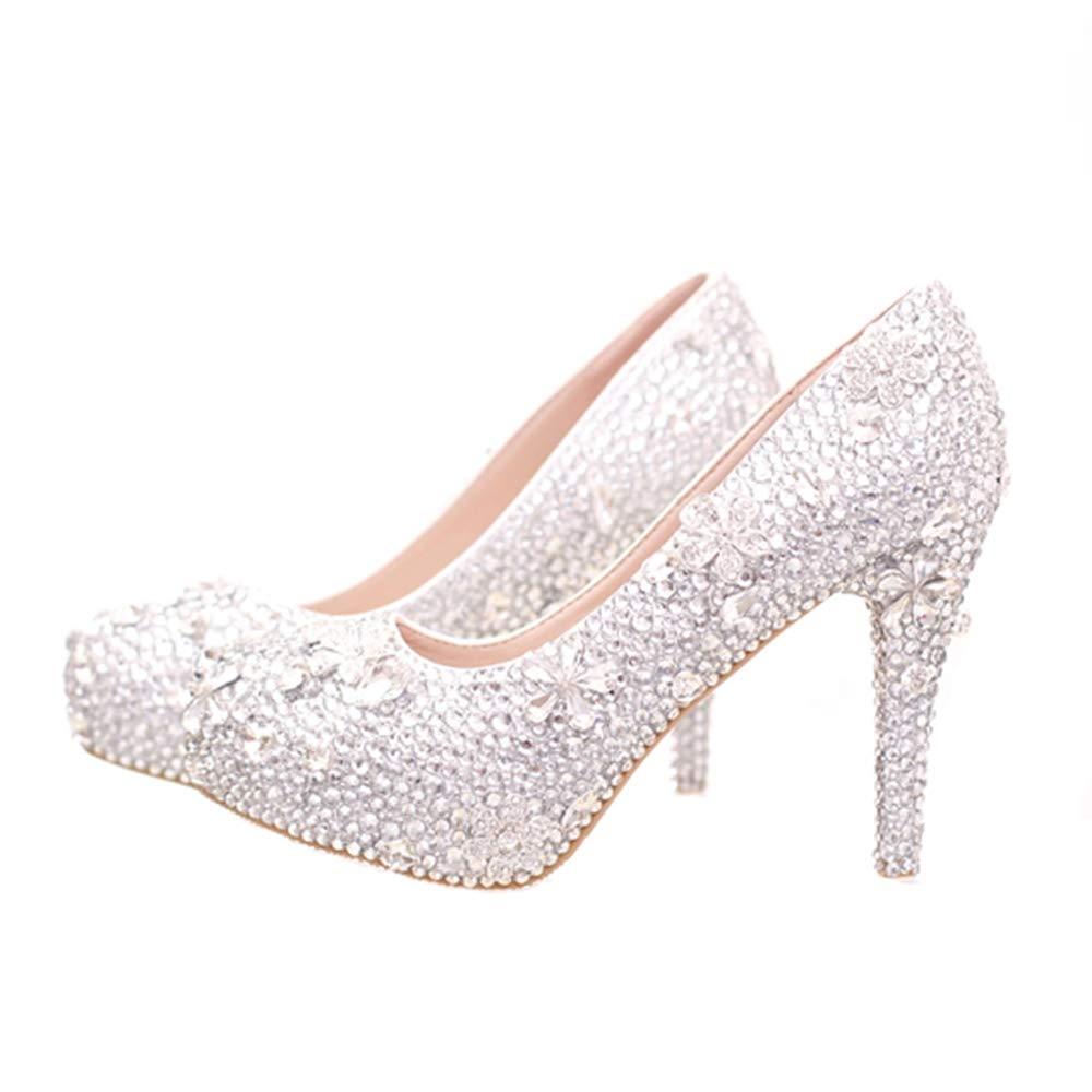 b18da5fb14961 Amazon.com   Silver Rhinestone Cinderella Crystal Shoes Stiletto ...