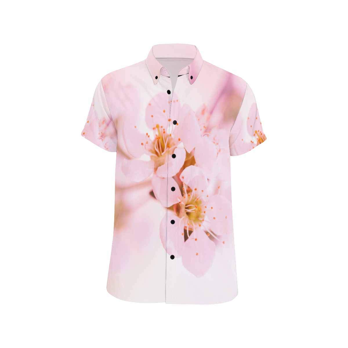 InterestPrint Spring Apple Blossoms Flowers Button Down Casual Shortsleeve Tee for Men