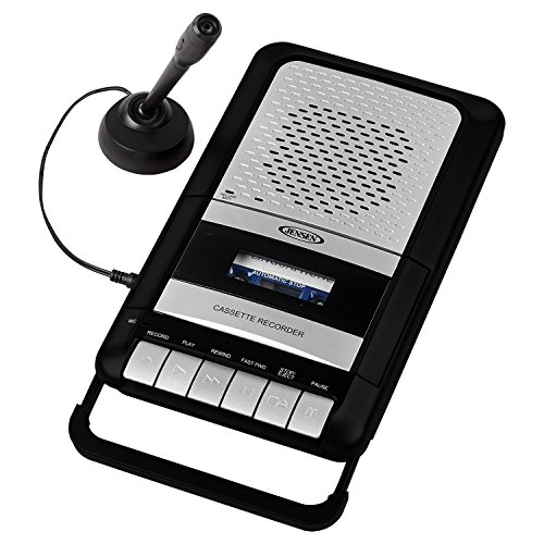 Jensen MCR-100SB Portable Shoe-Box Cassette Recorder/Player & Voice Recorder & Built in Speakers Microphone & Power Adapter Included (Limited Edition Model)