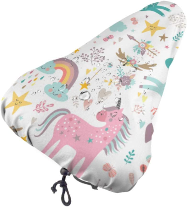 Yushg Mens Bike Seat Covers Unicorn Cute Child Accompany Saddle Seat Covers Seat Cover For Kids With Drawstring Rain And Dust Resistant For Most Of Bike Saddles