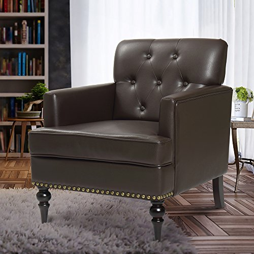 Finnkarelia Accent Chair for Living Room Mid Century Arm Club Chair with Armrest and Solid Wood Leg, Leather Brown Single (Leather Single Chairs)