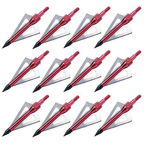 Sinbadteck Hunting Broadheads,Sinbad Teck 12PK 3 Blades Archery Broadheads 100 Grain Screw-in Arrow Heads Arrow Tips Compatible with Crossbow and Compound Bow (Red)